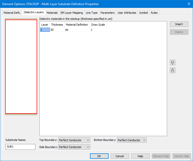 Dialog Box Reference: Element Options-(Schematic) STACKUP