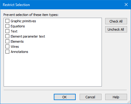 restrict selection (system diagrams) dialog box