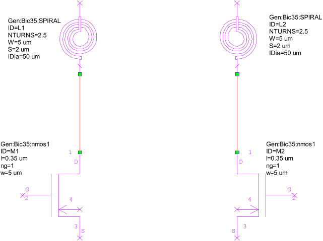drag a vertical line to the right of nmos or the inductor element  inside the schematic  the mirrored devices are added as shown in the  following figure