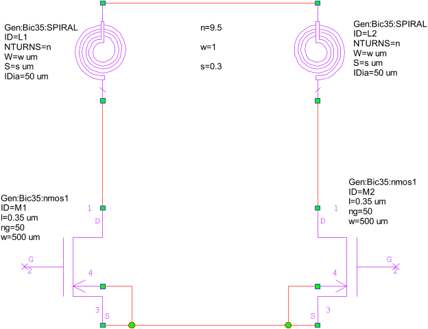 similarly, set the nmos parameters and wire the schematic as shown in the  following figure