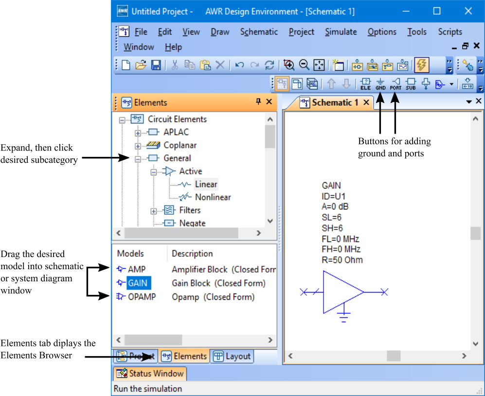 Getting Started Guide Chapter 2 Awr Design Environment Suite Look Through The Simulation Animation Of H Bridge Driver Circuit Note Choose Draw More Elements To Display Add Element Or System Block Dialog Box Search For